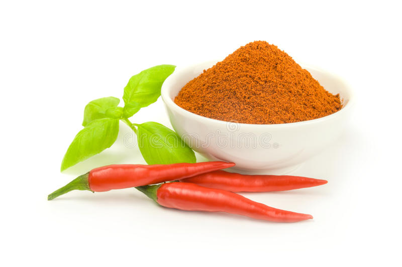 Powdered dried red pepper isolated on a white background cutout. Ground cayenne pepper on a white background. Clipping path royalty free stock image