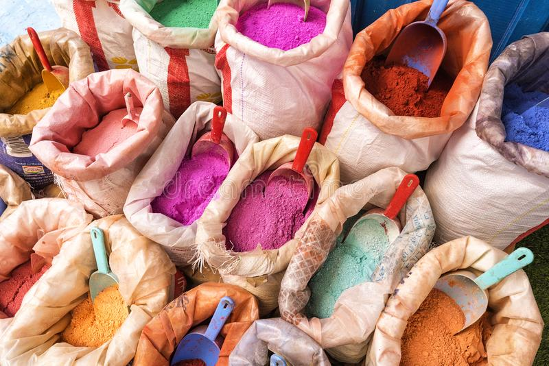 Powdered pigments in sacks for sale in blue town chefchaouen, morocco royalty free stock photo