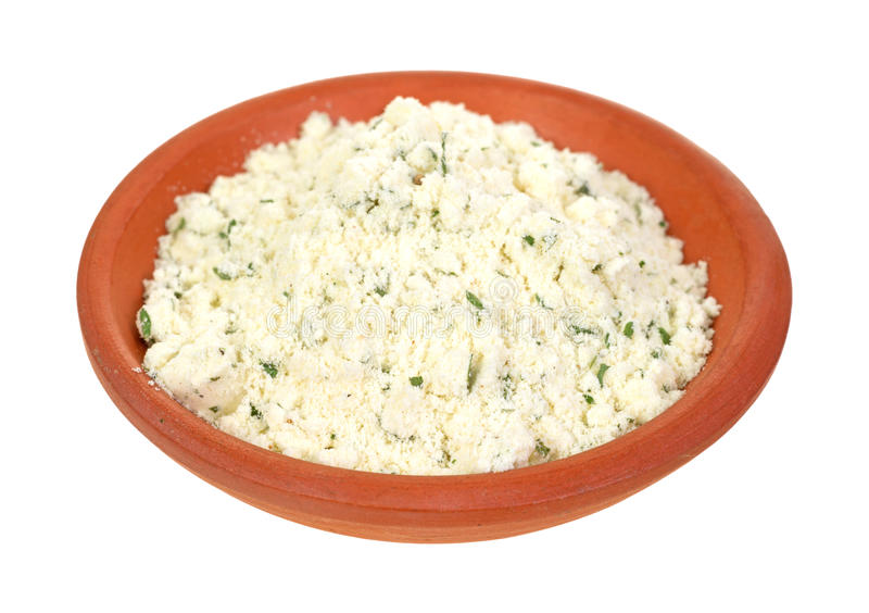 Powdered Ricotta Cheese With Herbs In Small Bowl Royalty Free Stock Image
