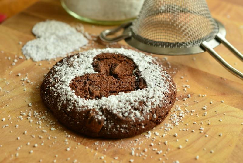 Powdered Sugar, Flourless Chocolate Cake, Baking, Chocolate Brownie royalty free stock photography