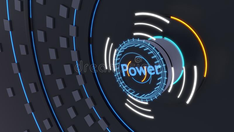 Power icon with futuristic holograms lights, 3d illustration vector illustration
