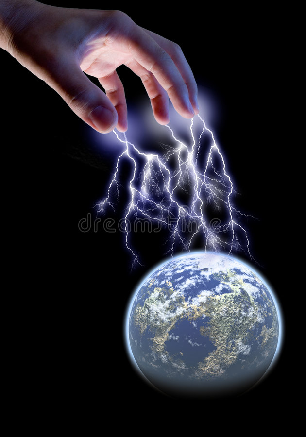 Power. Male hand electrocuting the world
