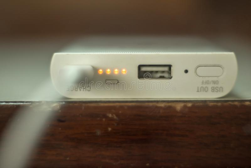 Power bank charging for mobile phone close up royalty free stock photos