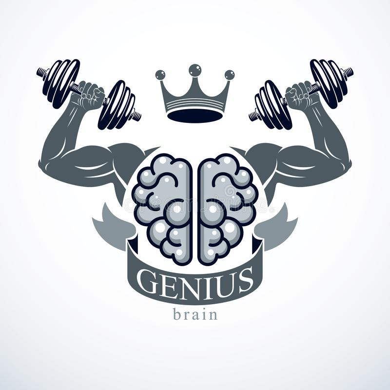 Power Brain emblem, genius concept. Vector design of human anatomical brain with strong bicep hands of bodybuilder. Brain training royalty free illustration