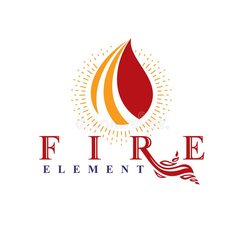 The power of burning fire, nature element vector logo for use in. Petrol and gas advertising vector illustration