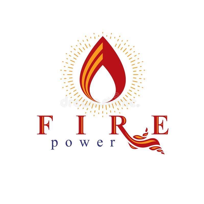 The power of burning fire, nature element vector logo for use in. Petrol and gas advertising stock illustration
