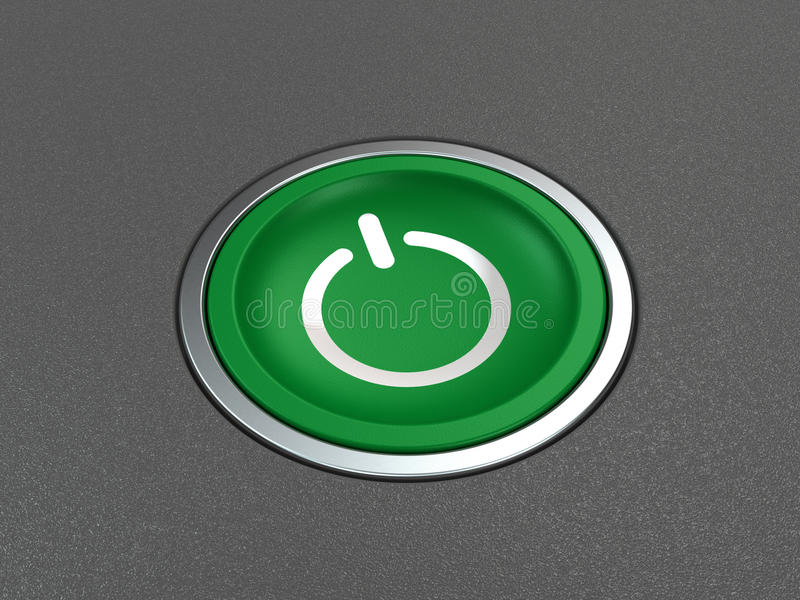 Power button on gray. Modern green power button on gray background vector illustration
