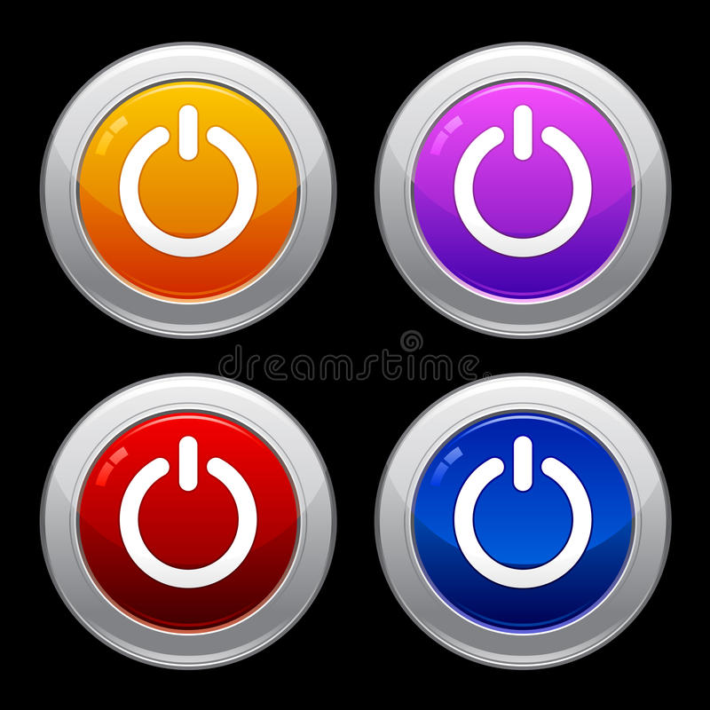 Power Button Icon Set EPS stock illustration