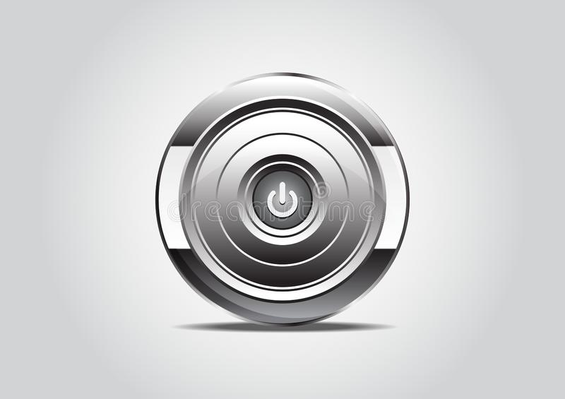 Power on button. Realistic metallic engine icon with gradient. Isolated vector illustration