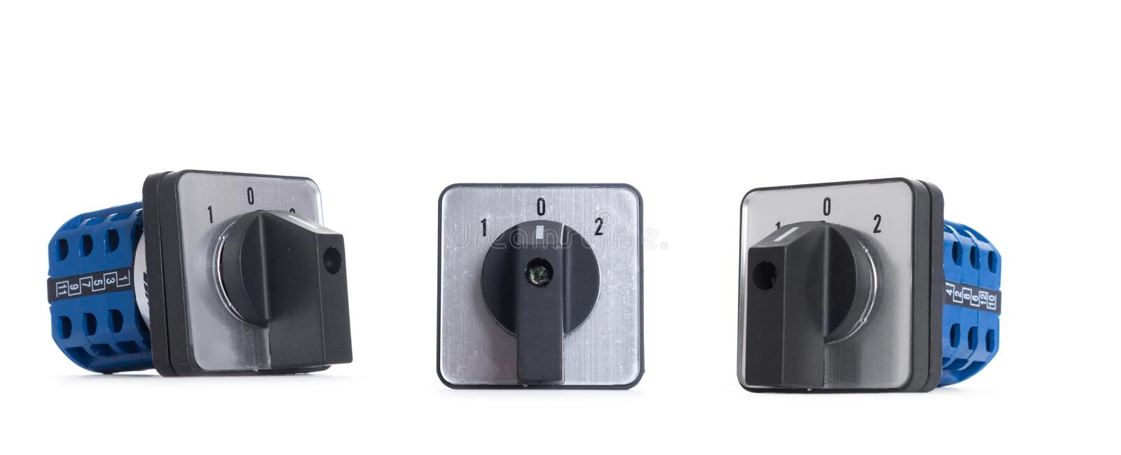 Power button switch isolated on the white background.  royalty free stock image