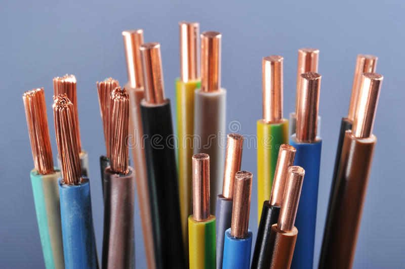 Power cables stock image