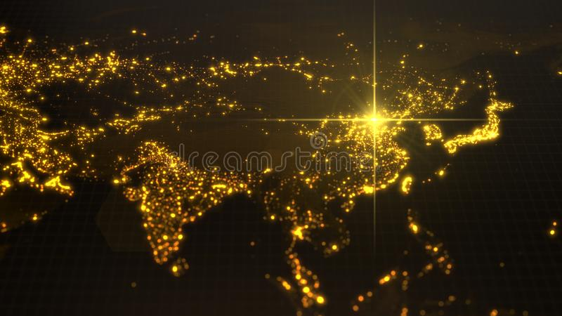 Power of china, energy beam on Beijing. dark map with illuminated cities and human density areas. 3d illustration stock illustration
