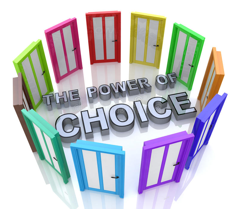 Power of Choice Many Doors Opportunity Decide Best. Option in the design of the information related with the selection royalty free illustration