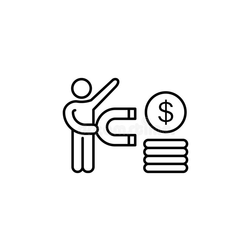 Power coin dollar magnetic influence icon. Element of business motivation line i. Con on white background vector illustration