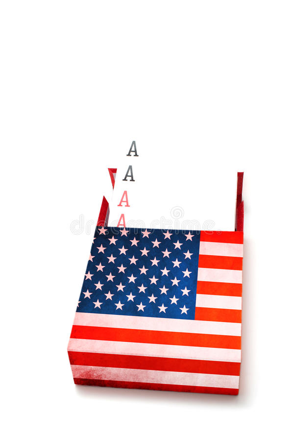 Power concept showing Four aces in American box. On white background stock images