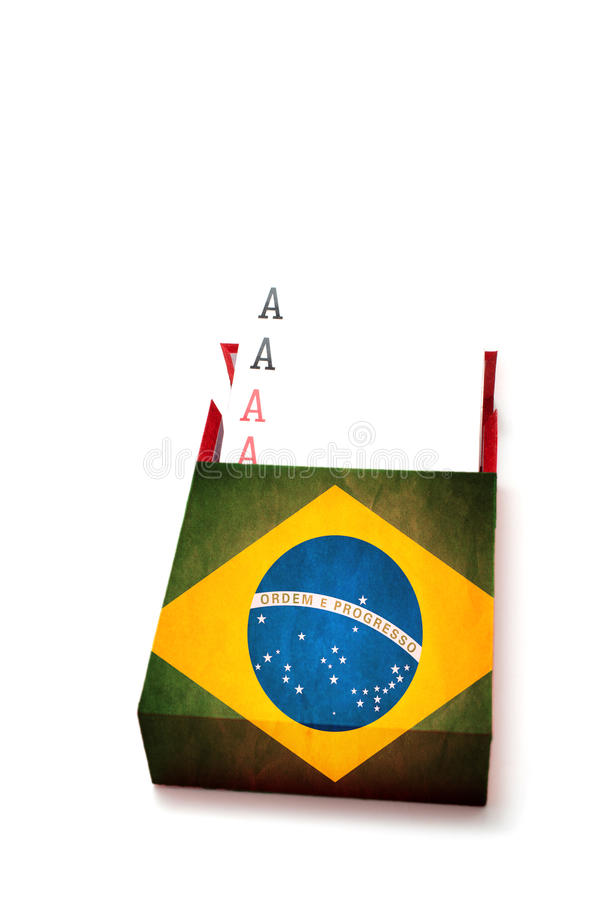 Power concept showing Four aces in Brazilian box. On white background royalty free stock photo