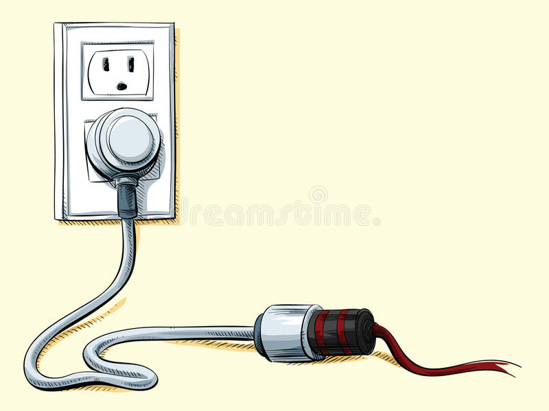 Plugs Into An Extension Cord : Power cord connection stock illustration of
