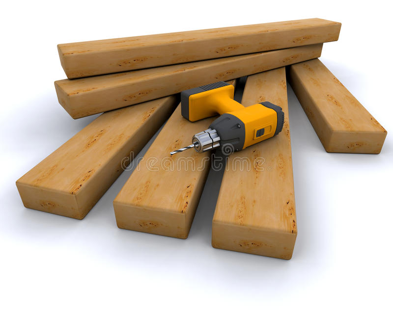 Download Power drill and wood stock illustration. Illustration of renovation - 11171199