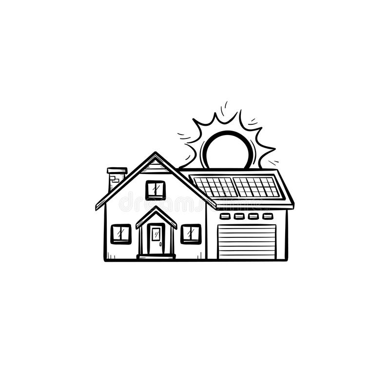 Power efficient house hand drawn sketch icon. Power efficient house hand drawn outline doodle icon. Residential house using solar energy vector sketch stock illustration