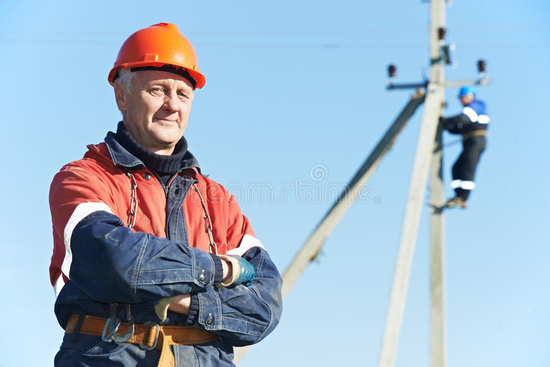 Download Power Electrician Lineman Portrait Stock Photo - Image of cabling, electricity: 27358358