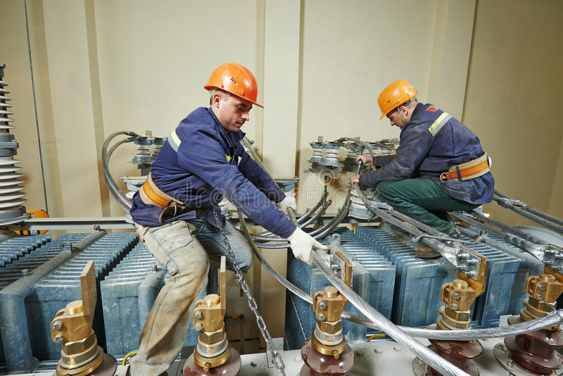 Download Power Electricians Lineman At Work Stock Photo