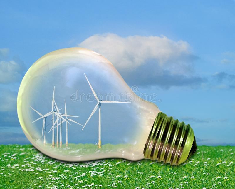 Power energy electrical electric bulb light green greenhouse climate change global windfarm wind farm turbines windmills renewable. Concept photo of a wind farm vector illustration