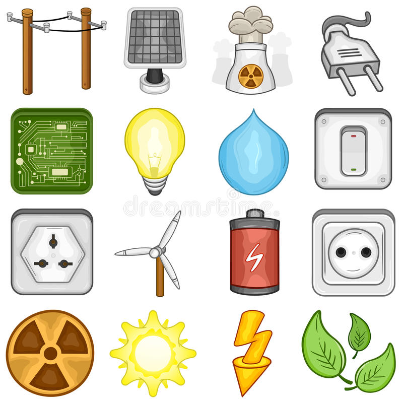 Power, Energy And Electricity Icons - Illustration Stock ...