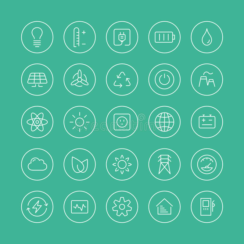 Power and energy flat line icons. Flat thin line icons modern design style vector set of power and energy symbol, natural renewable energy technologies such as vector illustration