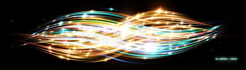 Power energy. Futuristic wave Flash. Magic sparks. Neon wind lines. Glow effect. Beautiful light. Glint cosmic rays royalty free illustration