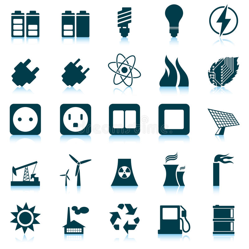 Download Power and energy icon set stock vector. Image of leaf - 26787156