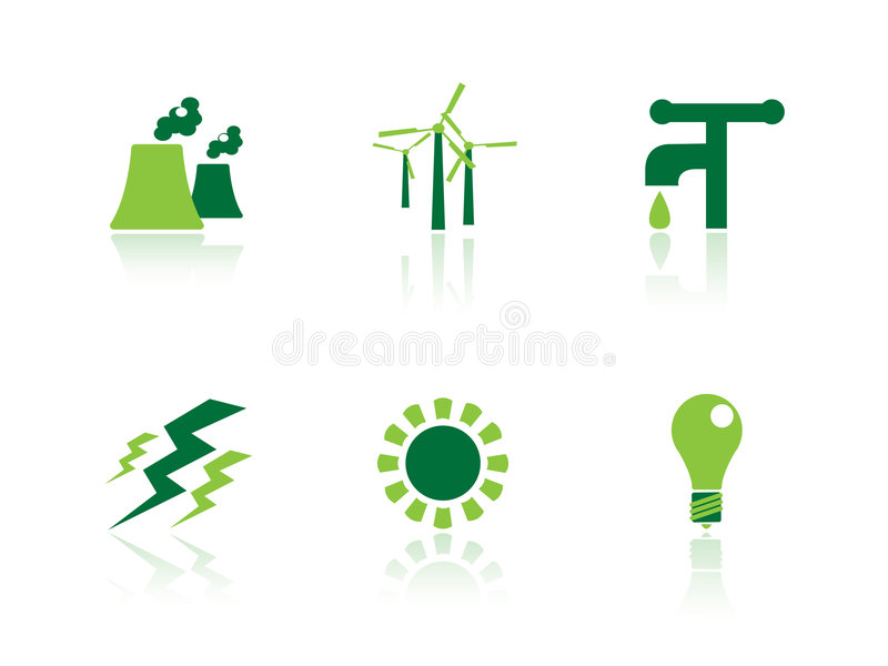 Power and energy icons stock illustration