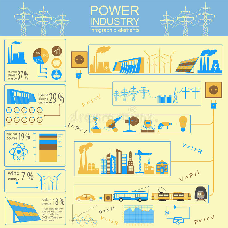 Power energy industry infographic, electric systems, set element. S for creating your own infographics. Vector illustration vector illustration