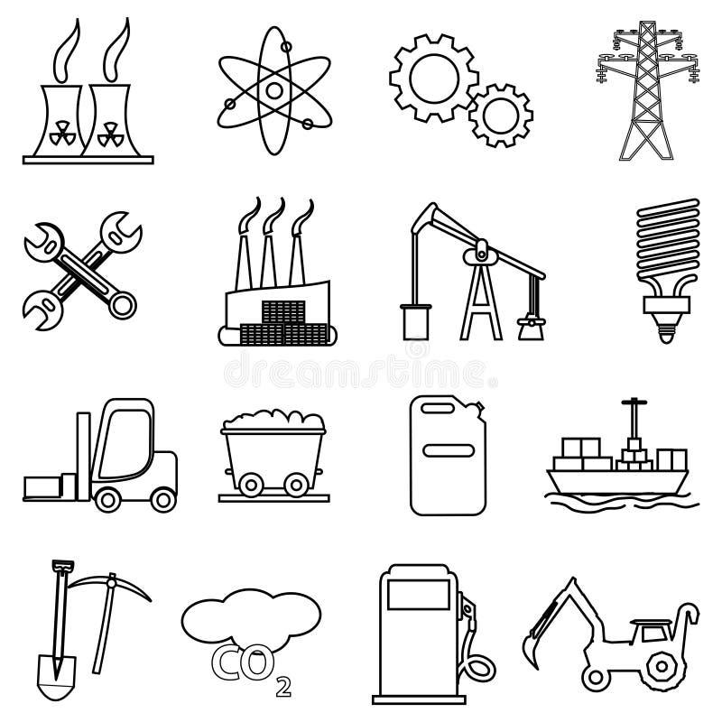 energy power line icons set stock vector