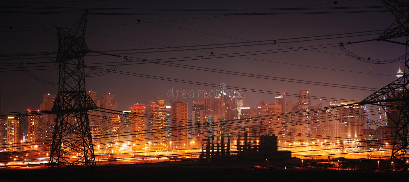 Power engineering. Dubai city construction site megalopolis panorama Power engineering stock images