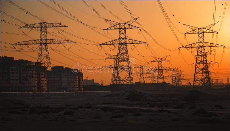 Power engineering. Dubai city megalopolis panoram power engineering royalty free stock photos