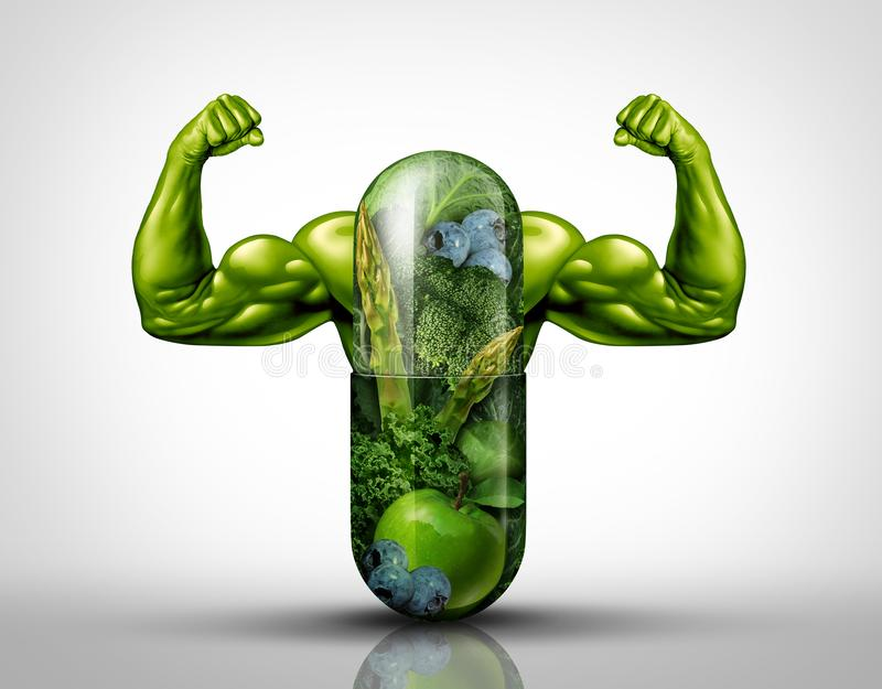 Power Food Supplement. Concept as a giant pill or medicine capsule with fresh fruit and vegetables inside on a table place setting as a nutrition and dietary vector illustration