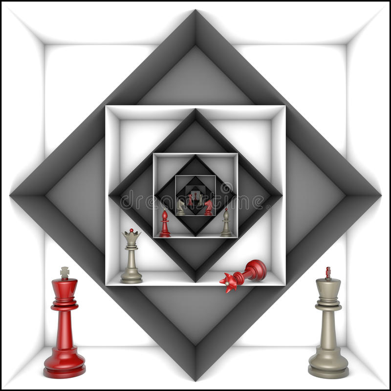 Power and freedom (chess metaphor). Red and gray chess pieces in black and white tunnels. 3d image vector illustration