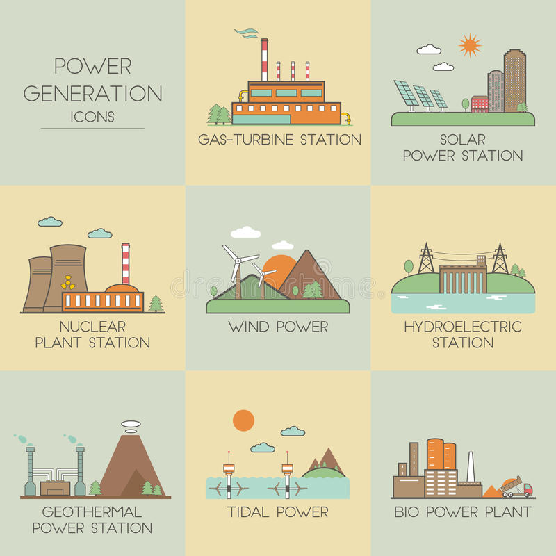 Free Power Generation Icons Stock Images - 58267664