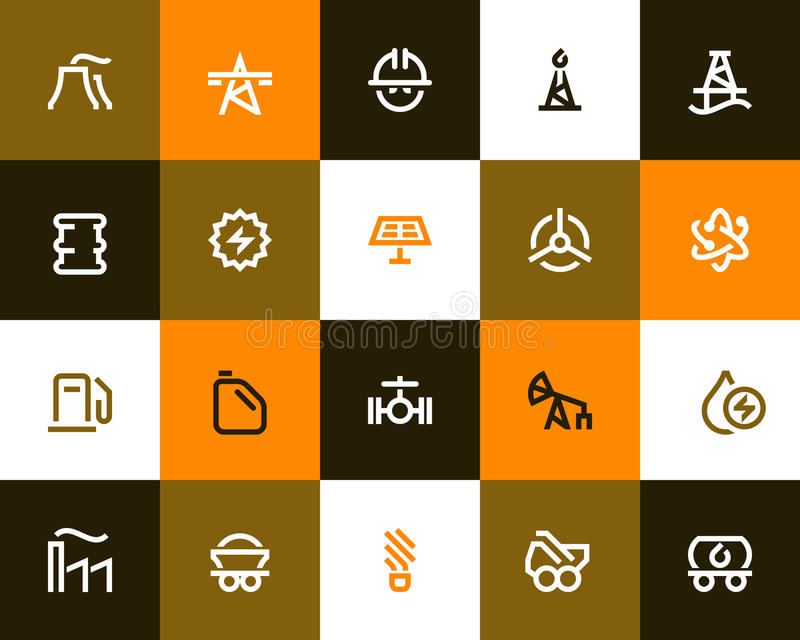 Power generation and oil industry icons. Flat style. Power generation and oil industry icons set. Flat style stock illustration