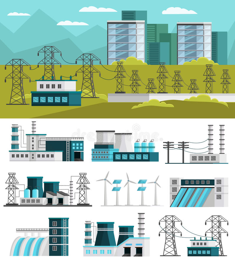 Power Generation Orthogonal Concept stock illustration