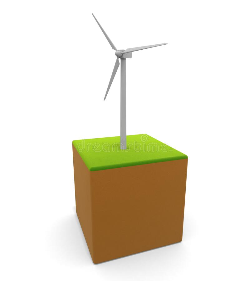 3D illustration. Wind turbine icon. Power is generated by wind power. Natural energy. vector illustration