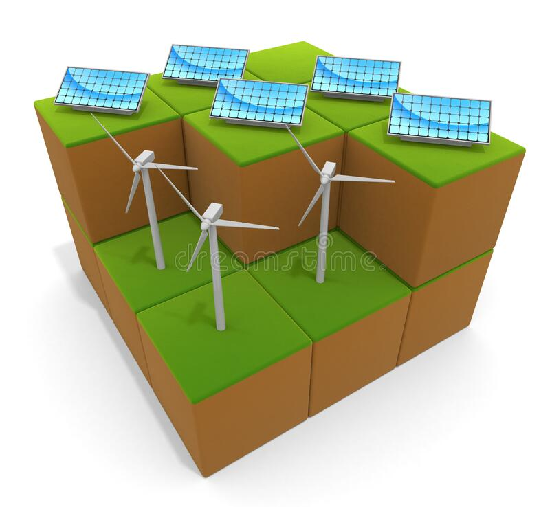3D illustration. Natural energy. Solar panels and wind power. vector illustration