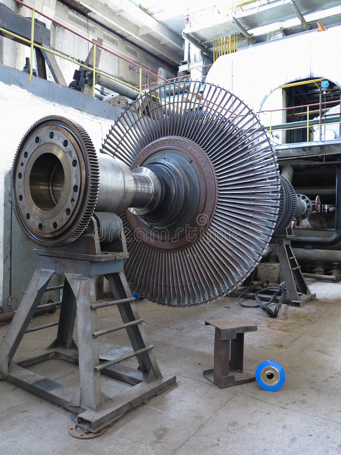 Power generator steam turbine during repair at power plant royalty free stock photos