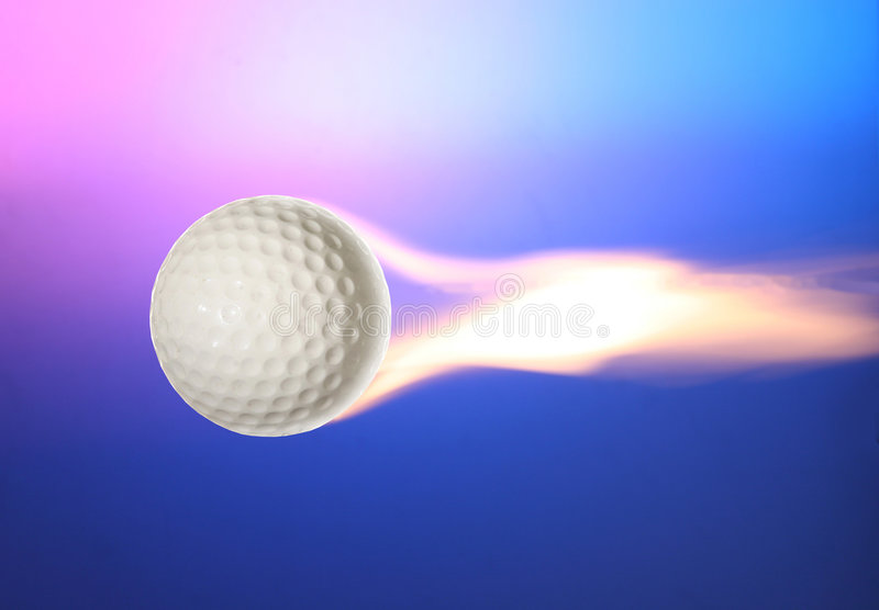 Power Golf Ball And Fire Royalty Free Stock Photo
