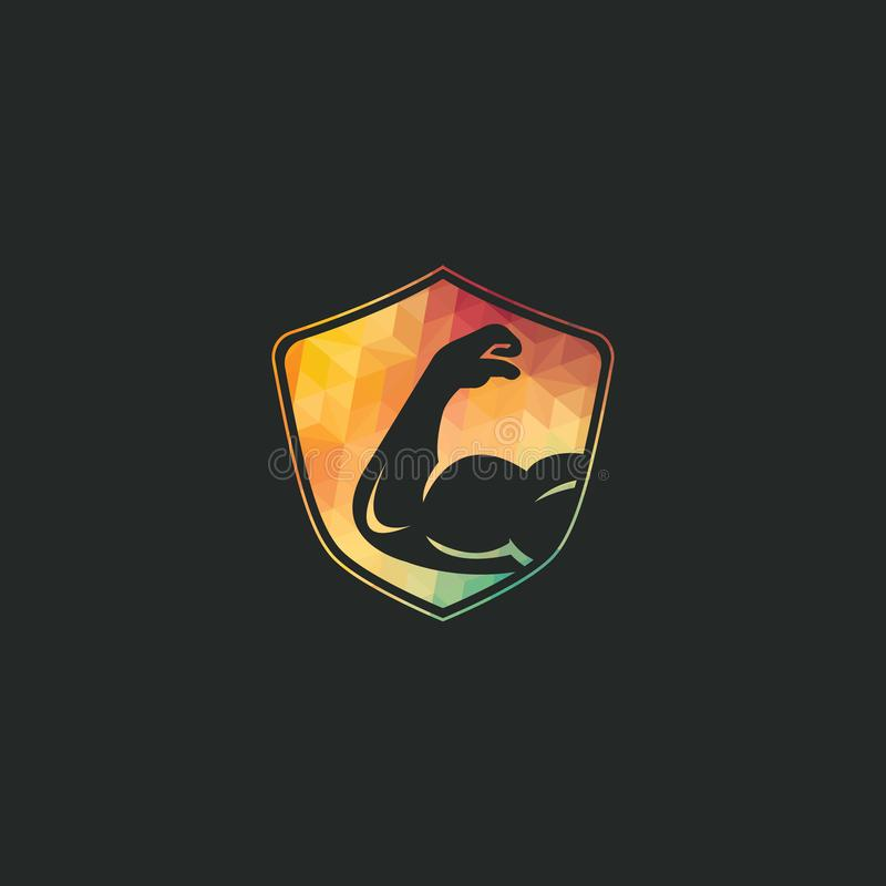 Power gym  logo design. Fitness  logo design template. Logo template with the image of a muscular arm vector illustration