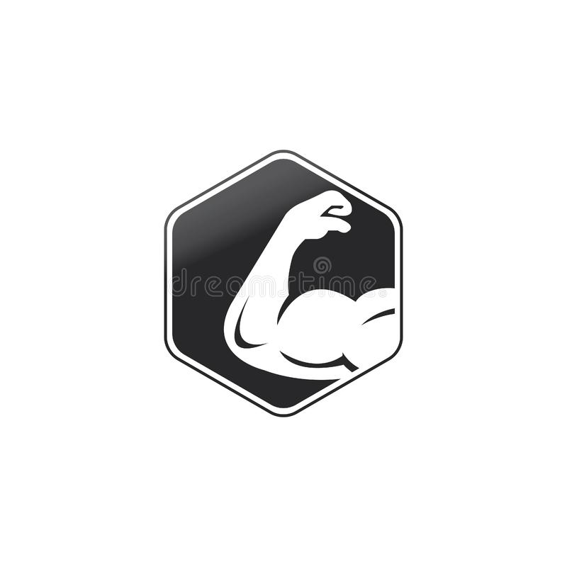 Power gym  logo design. Fitness  logo design template. Logo template with the image of a muscular arm royalty free illustration