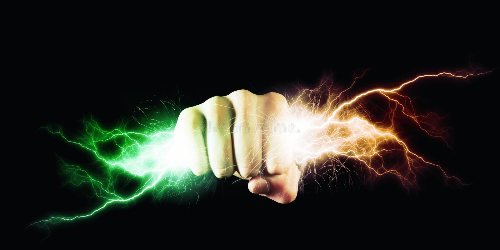 Power in hands. Businessman holding lightning in fist. Power and control