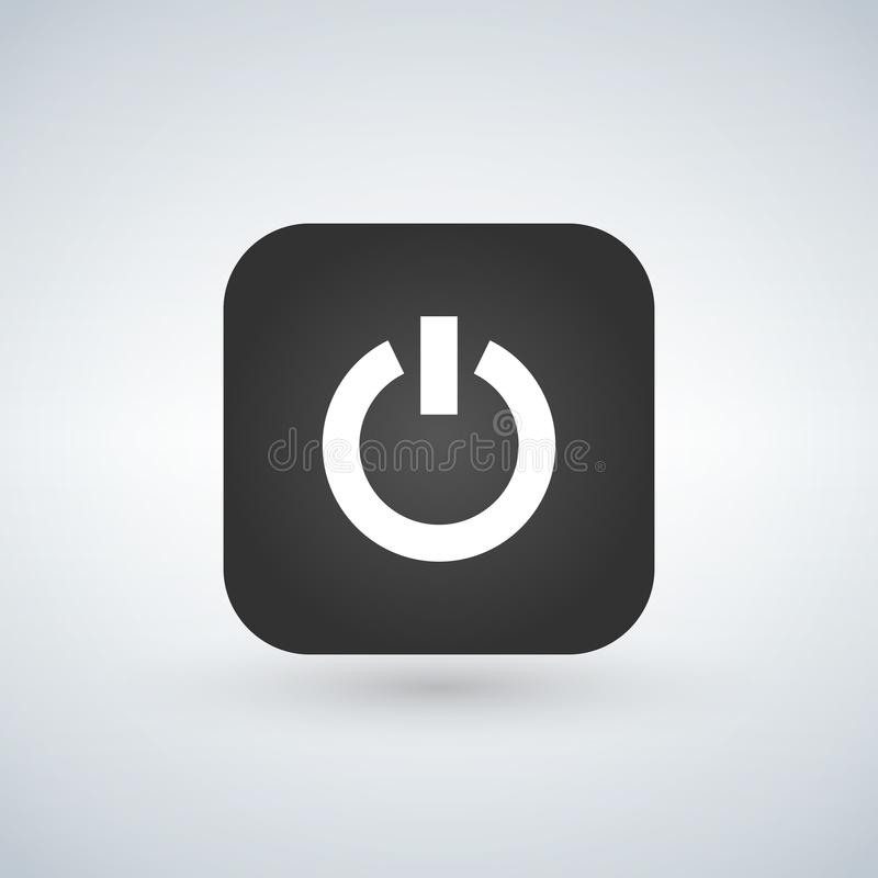 Power icon on black app button with shadow, illustration. stock illustration