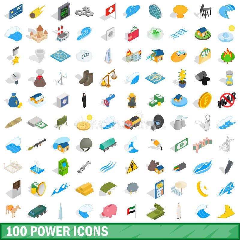 100 power icons set, isometric 3d style royalty free illustration