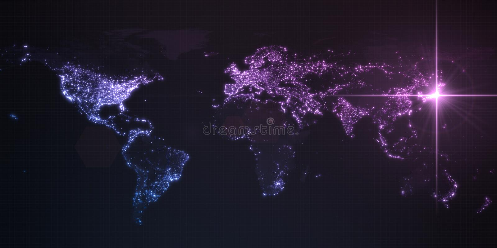 Power of japan, energy beam on tokyo. dark map with illuminated cities and human density areas. 3d illustration. Power of japan, energy beam on tokyo. dark map stock illustration